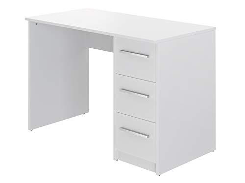 Marque Amazon -Movian - Bureau 3tiroirs Idro Modern, 56 x 110 x 73,5, Blanc