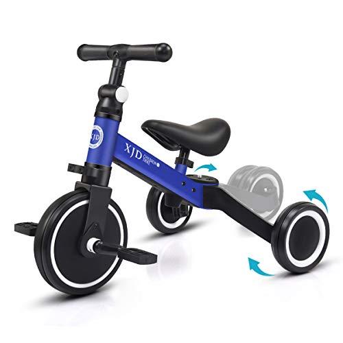 XJD 3 en 1 Vélo Draisienne Tricycle Évolutif pour Enfants de 1-3 Ans Premier Vélo Bébé avec Pédale Cadeau Noël pour Filles Garçons Léger (Bleu foncé)