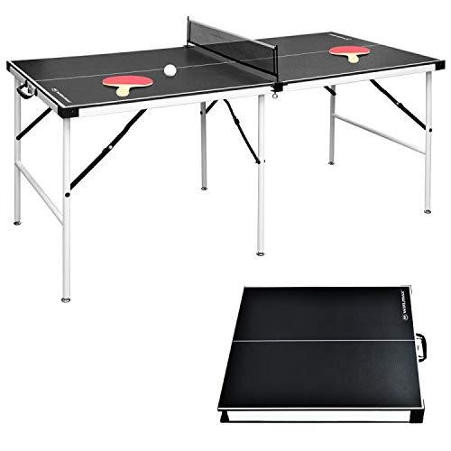 WIN.MAX Table de Ping-Pong de Taille Moyenne, Table de Ping-Pong Pliante avec Filet HBT: 152,4 x 73 x 69 cm, Plaque TT Pour Intérieur et Extérieur, Noir