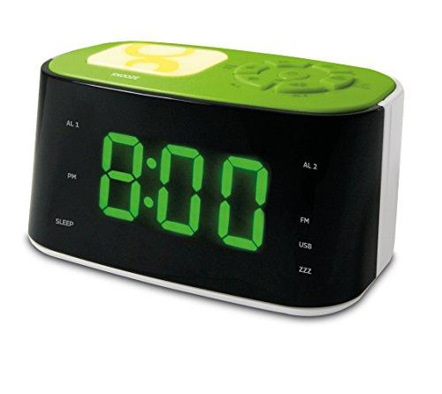 Metronic 477027 Gulli Radio Réveil/Veilleuse pour Enfant avec Port USB - Vert et Blanc