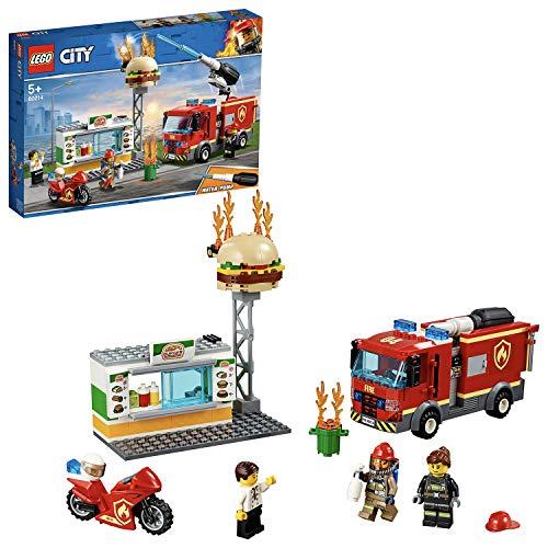 LEGO 60214 City L'InterventiondesPompiersauRestaurantdeHamburgers, avec véhicules...