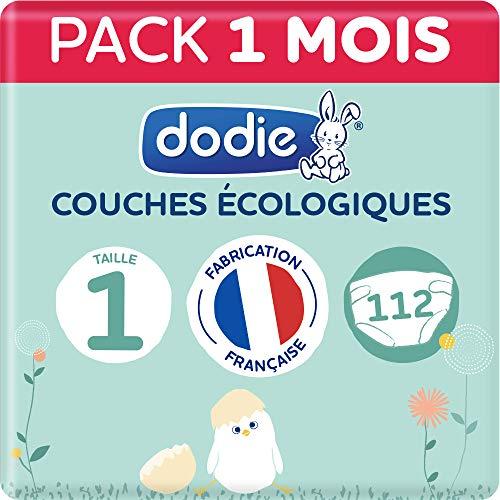 Dodie - Couches Ecologiques & Françaises - Taille 1 (2 à 5kg) - Pack 1 mois 112 couches
